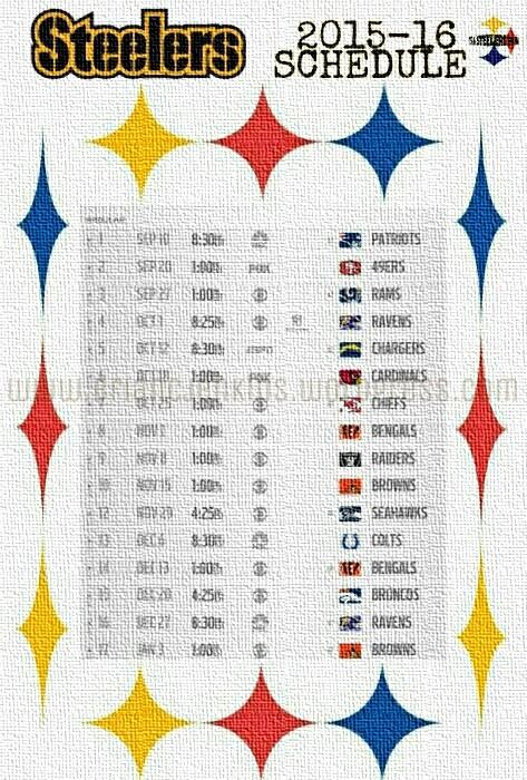 """Pittsburgh Steelers 2015-16 Regular Season Schedule   """"IT ..."""