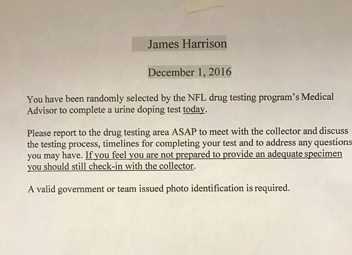 "another random drug test for harrison | ""it's a steelers world""!"